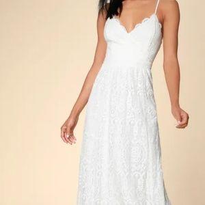 Lulus Unending Love White Lace Maxi Dress M